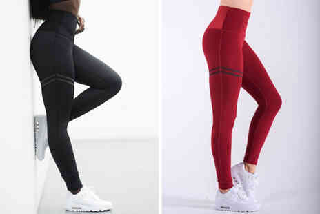 WowWhatWho - Pair of high waist fitness leggings choose from four colours in UK sizes 8 To 14 - Save 75%