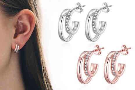 PhilipJones - Pair of double hoop earrings with Swarovski crystals, choose from two colours - Save 56%