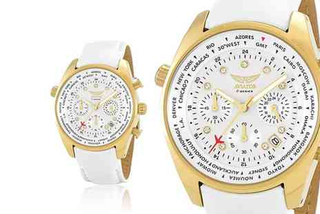 Brand Arena - Ladies white and gold aviator watch - Save 86%