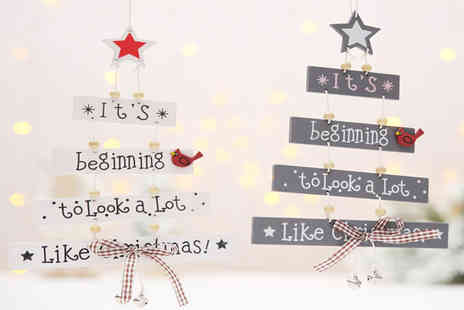 Litnfleek - Hanging wooden Christmas decoration choose from two colours - Save 0%