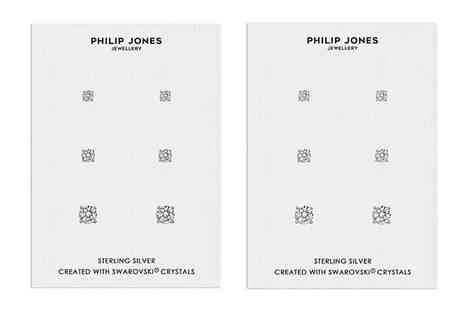 Philip Jones - Set of three pairs of sterling silver earrings made with crystals from Swarovski - Save 54%