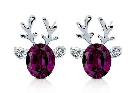 Gemnations - Pair of Christmas reindeer crystal earrings - Save 88%
