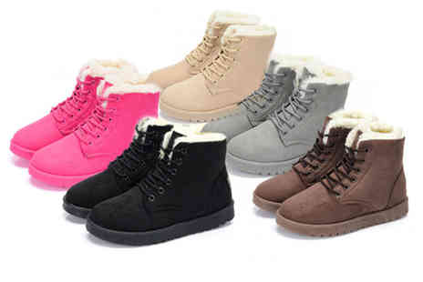 hey4beauty - Pair of faux fur lace up snow boots - Save 60%