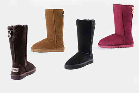 Evaniy Accessories - Pair of tall button sheepskin boots - Save 70%