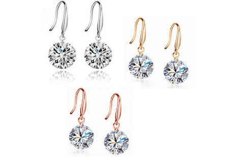 Solo Act - Pair of crystal drop earrings choose from three colours - Save 86%