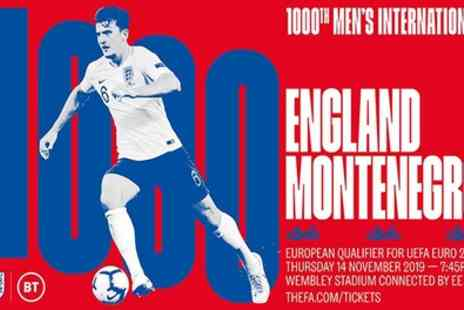 UEFA Euro 2020 Qualifier - England v Montenegro from 14th November 2019 - Save 22%