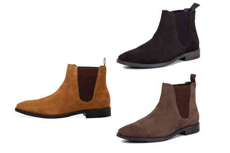 Redfoot - Pair of mens suede square toe Chelsea boots - Save 79%