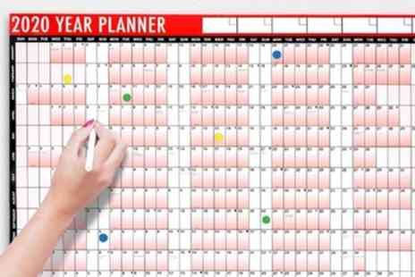 Groupon Goods Global GmbH - Up to Three Laminated 2020 Year Wall Planners with Pen - Save 67%