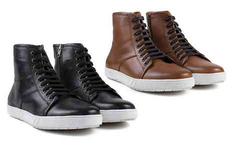 Redfoot - Pair of mens leather high top trainers - Save 47%