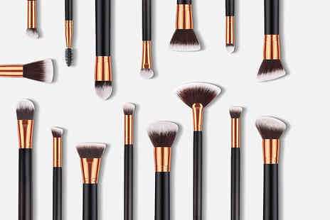 Forever Cosmetics - Glamza 16pc Kabuki Make Up Brush Set Black and Gold - Save 56%