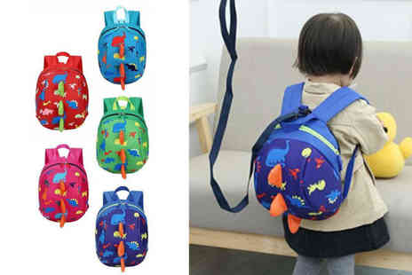Blu Fish - Kids two in one dinosaur backpack and harness choose from five colours - Save 73%