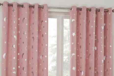 Groupon Goods Global GmbH - Pair of Stars Thermal Blackout Eyelet Curtains - Save 0%