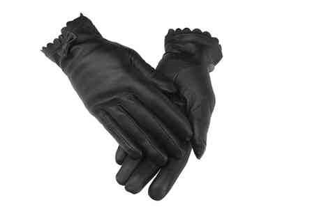 woodland Leathers - Pair of ladies black bow tie leather gloves - Save 0%