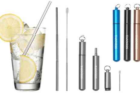 Groupon Goods Global GmbH - One, Two or Four Eco Friendly Collapsible Straw Sets - Save 73%