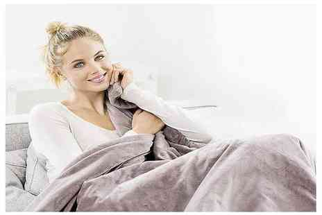 AMS Global - Taupe Beurer cosy heated throw - Save 43%
