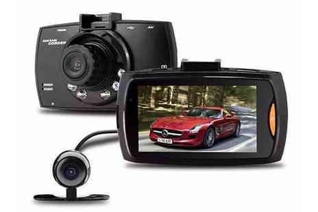 Hirix International - EagleCam Dual Front and Rear Dash Cam With 32GB SD Card - Save 81%