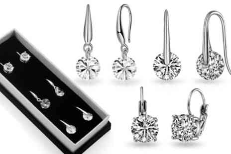 Groupon Goods Global GmbH - Three or Six Pairs of Philip Jones Round Drop Earrings with Crystals from Swarovski - Save 68%