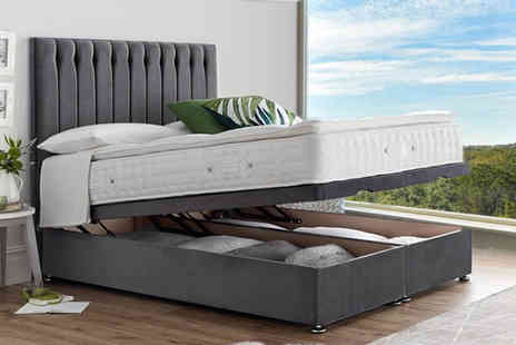 Serenity Designs - End lift ottoman divan storage bed or a bed with a pillow top pocket sprung mattress choose from five sizes and eight colours - Save 20%