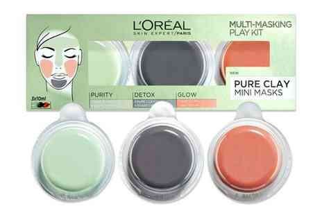 Chemist - Three pack of LOreal Paris pure clay multi masking kits - Save 58%