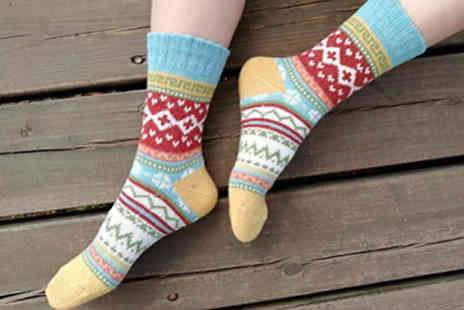 Good2items - 5 or 10 Pairs Cotton Blend Winter Socks Nordic Print - Save 77%