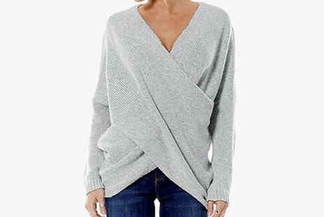 Domosecret - Womens Cross Wrap Knit V Neck Jumper Available in 4 Colours and 8 Sizes - Save 65%