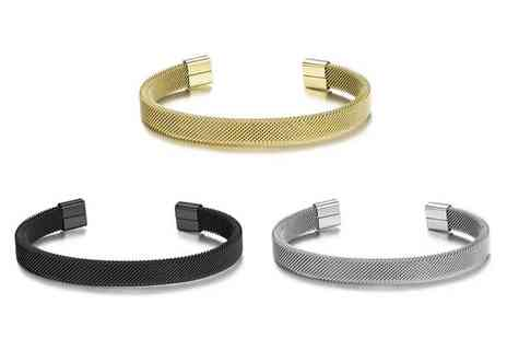 Philip Jones - Steel mesh mens bracelet choose from three colours - Save 50%