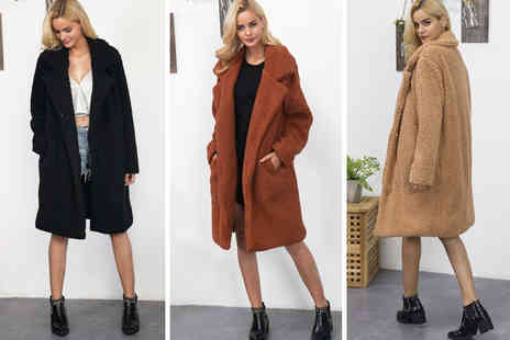 My Blufish - Longline faux fur teddy coat choose your colour and size - Save 75%