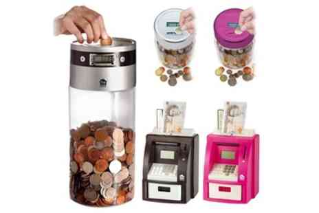 Groupon Goods Global GmbH - Digital Coin Counting Jars or ATM Bank - Save 0%