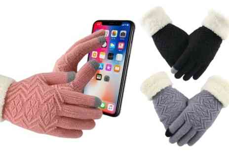 Groupon Goods Global GmbH - One or Two Pairs of Knitted Touchscreen Gloves - Save 75%