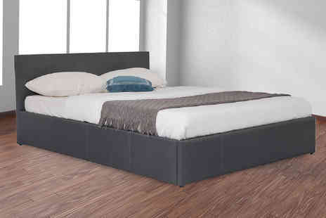 IQGB - Single dark grey faux leather side lift ottoman bed choose your size - Save 66%