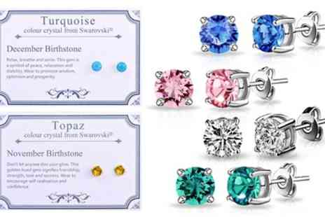 Groupon Goods Global GmbH - Philip Jones Birthstone Earrings in Choice of Design with Crystals from Swarovski - Save 67%