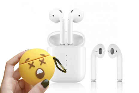 CnDirectBiz - Pair of i10 Apple and Siri Compatible Wireless Earbuds with Emoji Case - Save 73%
