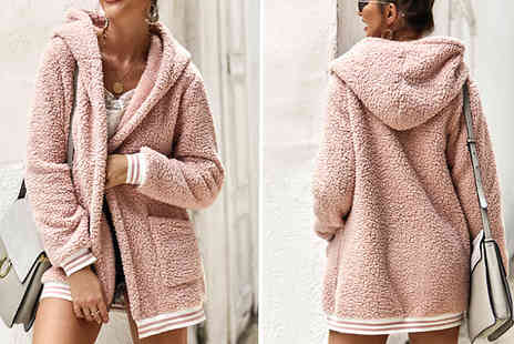 hey4beauty - Womens Faux Fur Teddy Stripe Hooded Coat Choose from 4 Colours and 4 Sizes - Save 63%